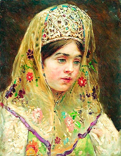 "K.Makovsky.  ""Portrait of the young girl in the russian traditional costume"" border="